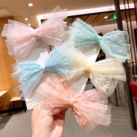 children's net yarn pink lace bow hairpin  NHSA326821's discount tags