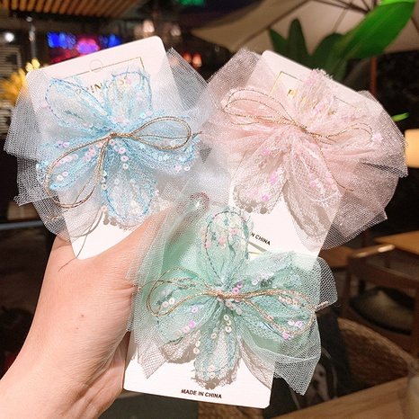 Korea's new flower sequins mesh lace bow hairpin NHSA326827's discount tags