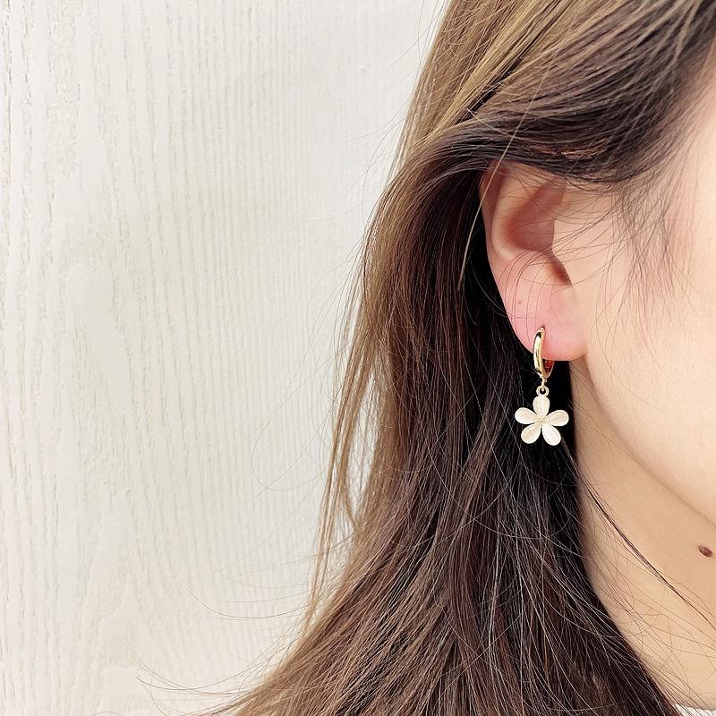 Korean Flower Pendant Earrings NHHI326830