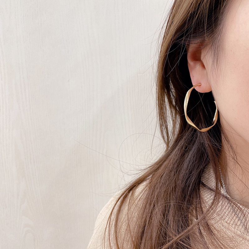 retro wave shape earrings NHHI326834