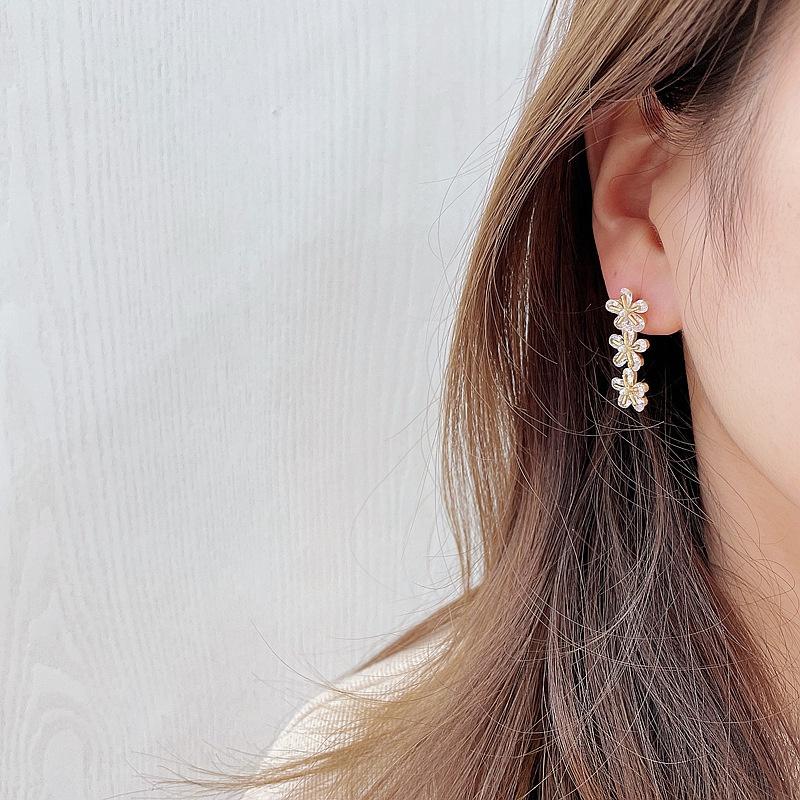 Korean flower pendant alloy earrings  NHHI326842