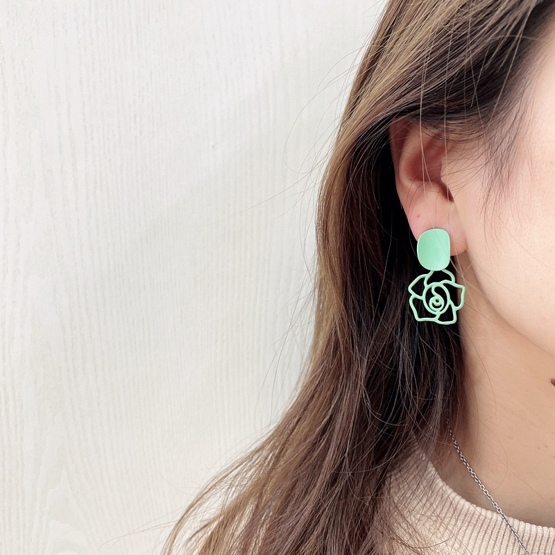 Korean candy color flowers earrings NHHI326843