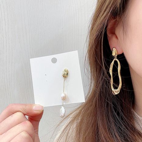 Asymmetrische Aluminiumohrringe aus koreanischer geometrischer Perle NHHI326848's discount tags