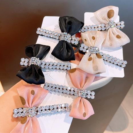 Korea organza wave dot bow full of diamond hair clip NHHD326854's discount tags