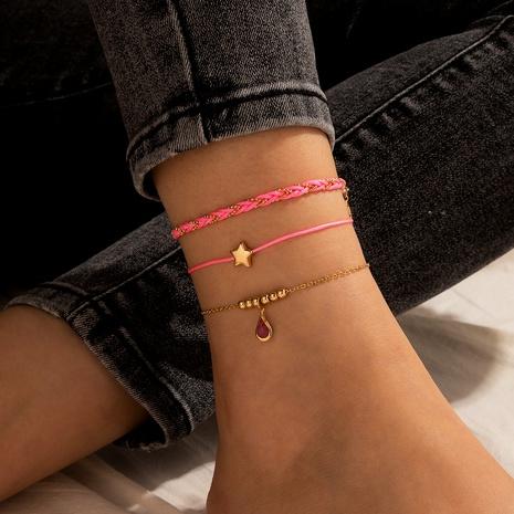 Böhmisch rosa handgewebte Sterne Fußkettchen gesetzt NHGY327077's discount tags