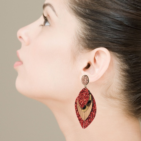 Bohemian Leather Printed Leaf Earrings  NHLN326894's discount tags