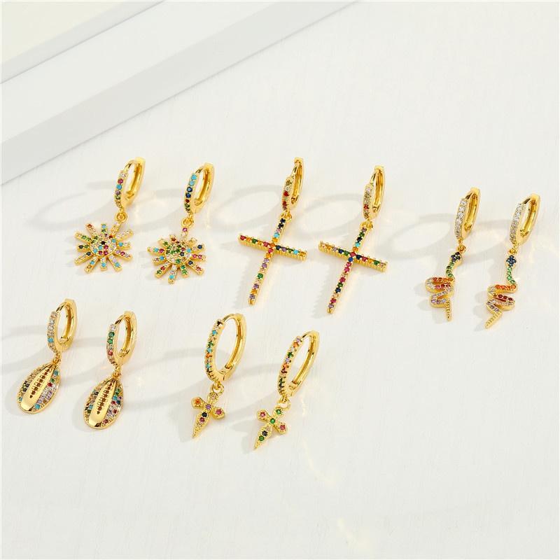 retro colored diamond snake cross earrings  NHGO326897