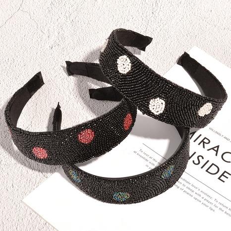 fashion baroque handmade bead rhinestone wide-brimmed headband NHAQ326950's discount tags