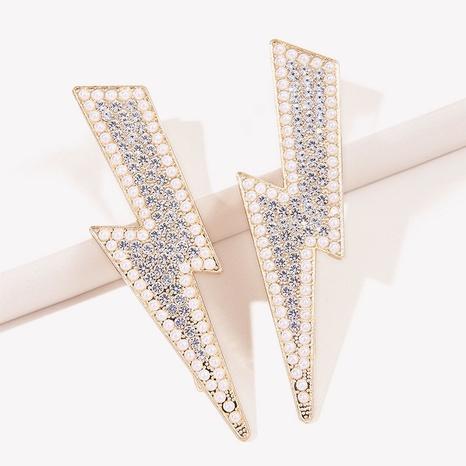 Korean fashion shiny rhinestone pearl lightning shape hair clip NHGE326959's discount tags
