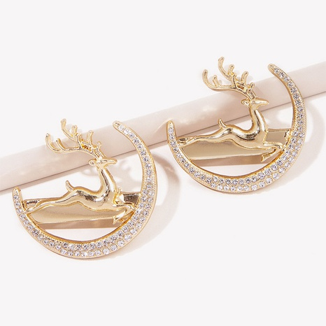 fashion simple rhinestone moon metal deer hairpin  NHGE326962's discount tags