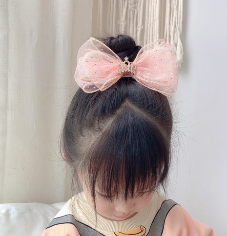 Korea children's crown dot mesh large bow hairpin NHCQ327004's discount tags