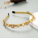 Korea Simple Alloy Flower Thin Edge Rhinestone Pearl Headband NHLN327030