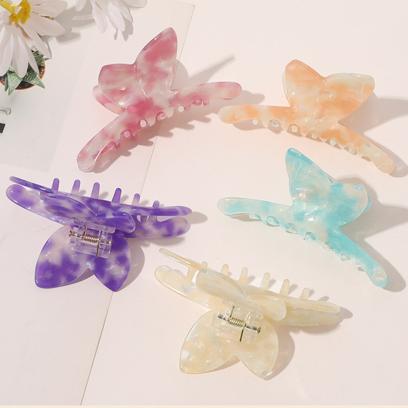 Retro butterfly hairpin mermaid color clip Korean hair accessories acetate hair clip NHQC327035