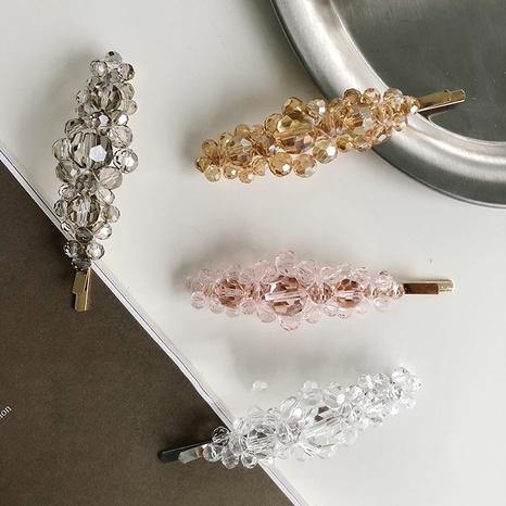 Korean simple crystal pearl flower hair clip NHSM326692's discount tags