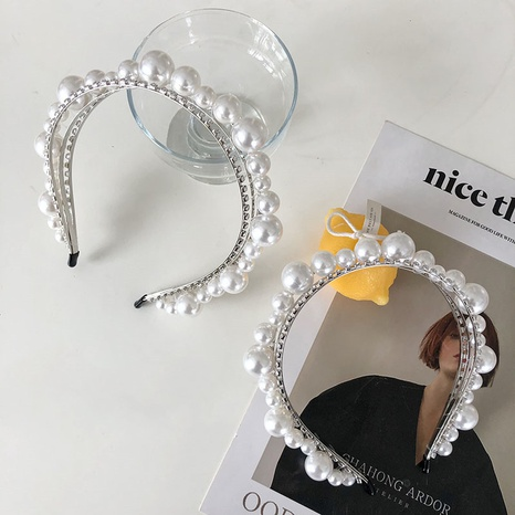 Baroque rhinestone pearl multi-layer full diamond headband NHSM326693's discount tags