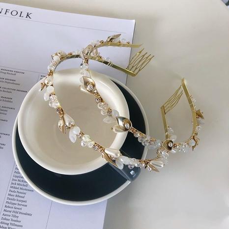 Korean leaf winding pearl alloy full diamond headband NHSM326704's discount tags