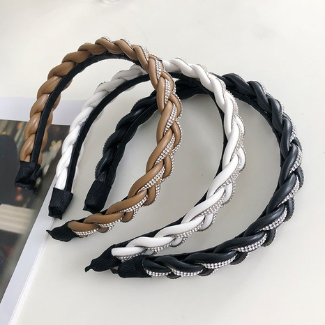 Korean woven rhinestone wide-sided headband NHSM326695's discount tags