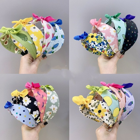 Children's fabric floral fruit colorful bowknot wide-sided sponge headband NHSM326702's discount tags