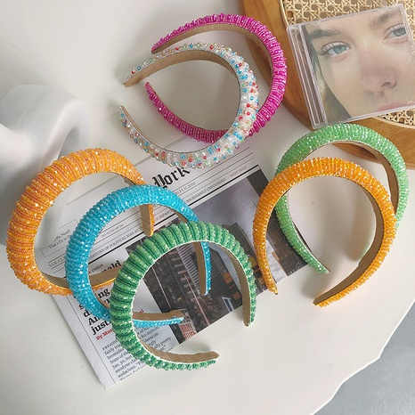 fashion full diamond wide-brimmed crystal candy color sponge headband NHSM326697's discount tags