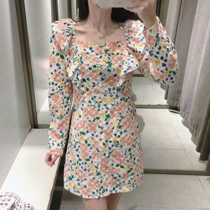 vestido de manga de hoja de loto estampado de cuello cuadrado al por mayor NHAM327259