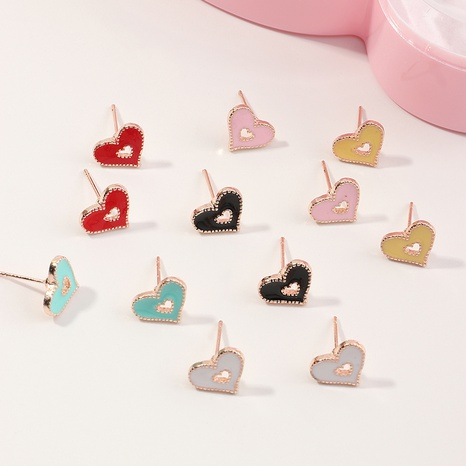 Ensemble de boucles d'oreilles d'amour dégoulinant en alliage de couleur bonbon à la mode NHNU327666's discount tags