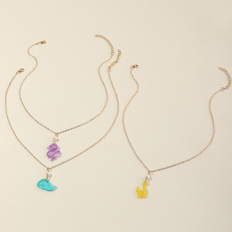 ensemble de collier de dauphin bleu  la mode NHNU327660