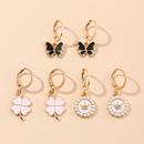 Cute drop oil pearl butterfly earrings set NHNU327656