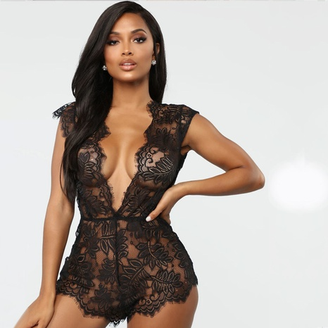 Mode Spitze V-Ausschnitt sexy Pyjamas einteiliger Anzug NHWI327402's discount tags