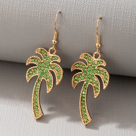 bohemian creative simple green coconut diamond earrings NHGY327647's discount tags