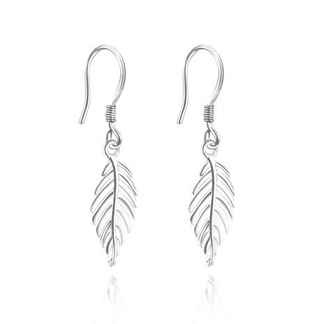 boucles d'oreilles longues en argent pur feuille de mode coréenne NHKL327443's discount tags