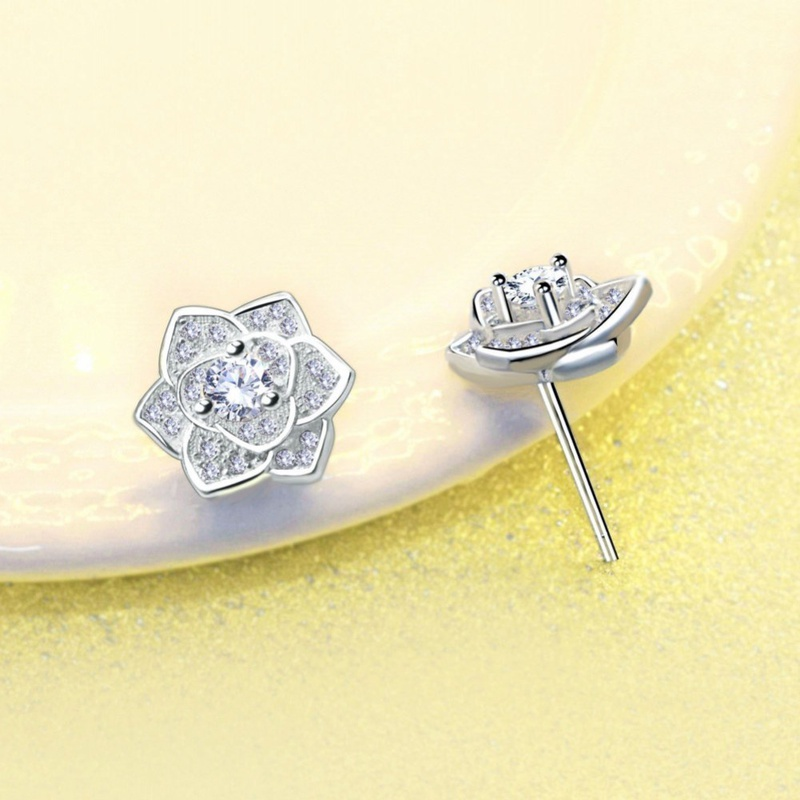 S925 plated silver fashion flowers Rose Earrings NHKL327461