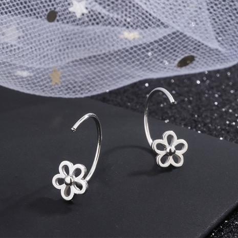 S925 silver korean sweet flowers hollow earrings NHKL327501's discount tags