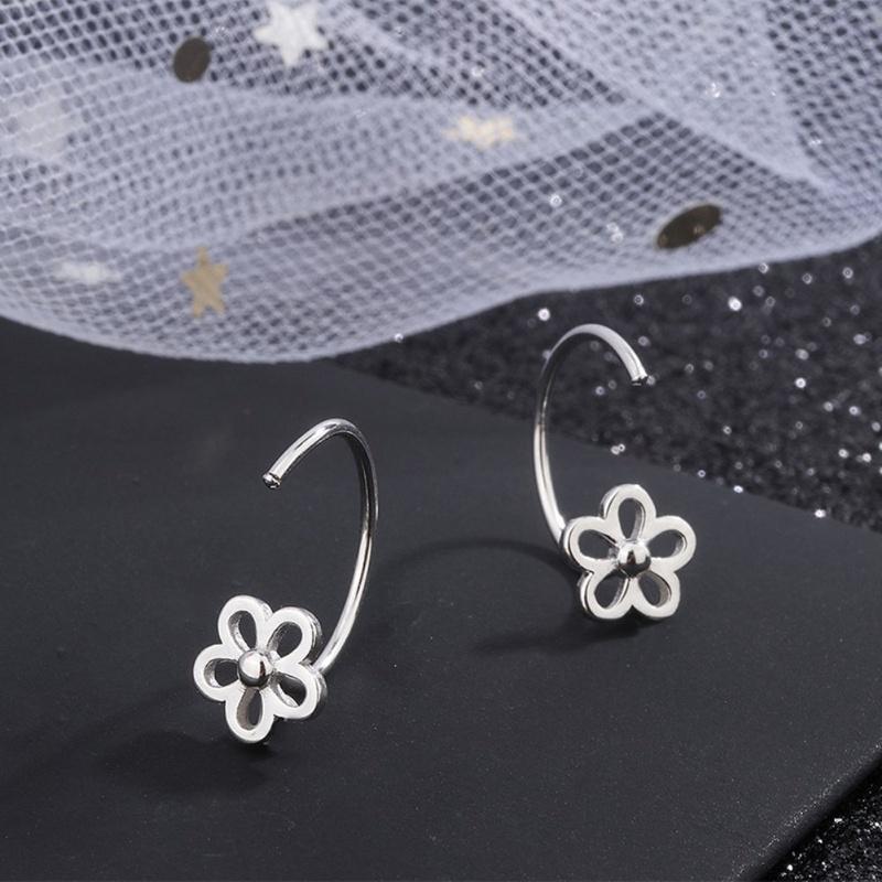S925 silver korean sweet flowers hollow earrings NHKL327501