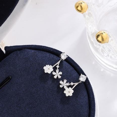 S925 pure silver zircon Flower Earrings NHKL327504's discount tags