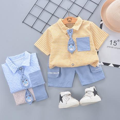Lindo animal pequeño zorro corbata de algodón de manga corta 80-120cm traje de verano para niños al por mayor NHWU327632's discount tags