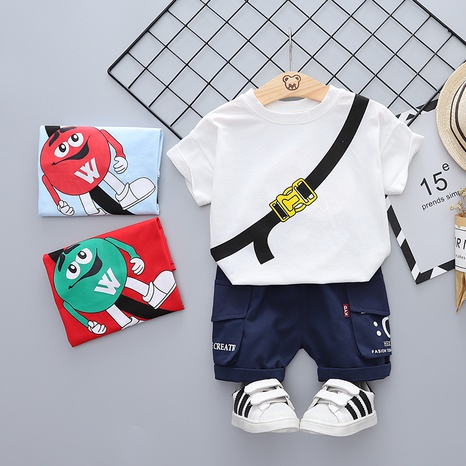 Fashion M Bean Cute Cotton 80-120cm Children's Summer Short Sleeve Shorts Set Wholesale NHWU327630's discount tags