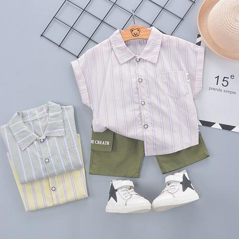 Moda rayas verticales lindo algodón 80-120cm camisa de verano para niños pantalones cortos traje al por mayor NHWU327629's discount tags