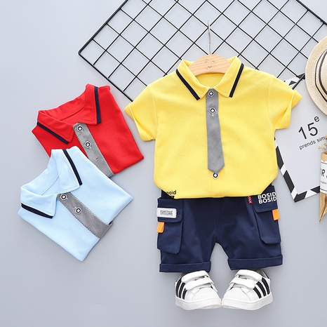 Moda linda pajarita de algodón puro manga corta 80-120cm traje de verano para niños al por mayor NHWU327627's discount tags