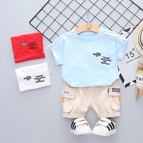 Moda cocodrilo bolsillo lindo animal puro algodón manga corta 80-120 cm traje de verano para niños al por mayor NHWU327626's discount tags