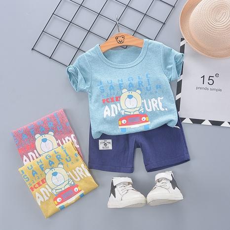 Moda lindo oso coche algodón 80-110cm verano de los niños pantalones cortos de manga corta traje al por mayor NHWU327625's discount tags