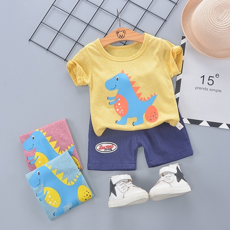 Moda lindo pequeño dinosaurio algodón 80-110cm niños verano manga corta pantalones cortos traje al por mayor NHWU327624's discount tags