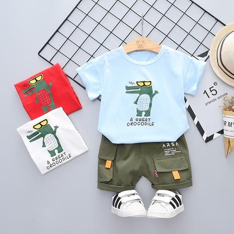 Moda pequeño cocodrilo lindo algodón de manga corta 80-120cm traje de verano para niños al por mayor NHWU327623's discount tags