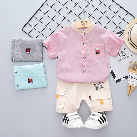 Fashion number 5 stand collar cute cotton short sleeve 80-120cm children summer suit wholesale NHWU327622's discount tags