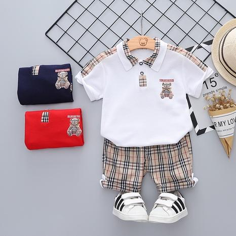 Moda a cuadros oso polo camisa algodón 80-120cm traje de verano para niños al por mayor NHWU327618's discount tags