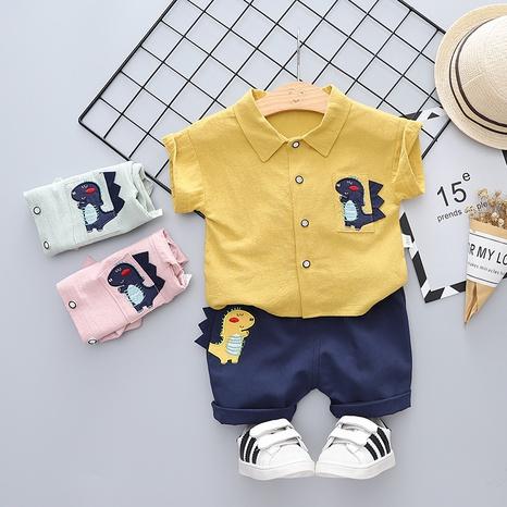 Moda de dibujos animados Animal pequeño dinosaurio Cardigan algodón puro manga corta 80-120cm traje de verano para niños al por mayor NHWU327610's discount tags