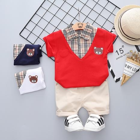 Traje de verano para niños de manga corta de algodón de oso de costura a cuadros de moda 80-120cm al por mayor NHWU327614's discount tags