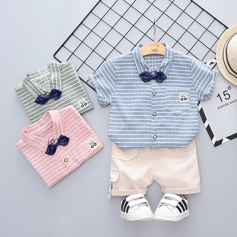 Moda de dibujos animados a rayas bowknot algodón de manga corta 80-120cm traje de verano para niños al por mayor NHWU327615's discount tags