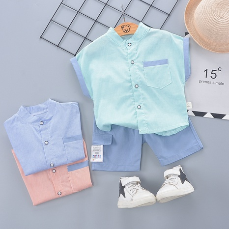 Fashion stitching cute cotton short-sleeved 80-120cm children's summer suit wholesale NHWU327616's discount tags
