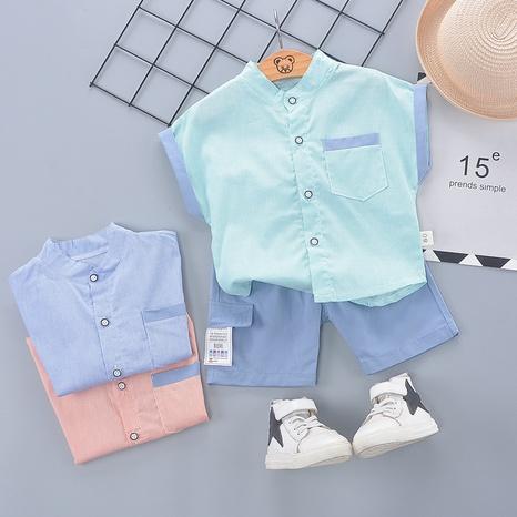 Moda costura lindo algodón de manga corta 80-120cm traje de verano para niños al por mayor NHWU327616's discount tags