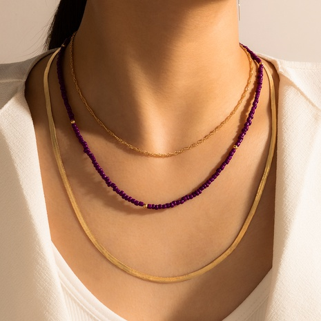 fashion trendy handmade beaded purple necklace NHGY328299's discount tags